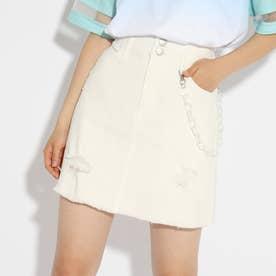 ★ニコラ掲載★チェーン付ダメージスカート (オフホワイト)