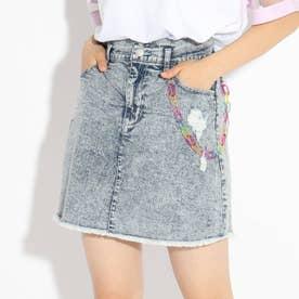 ★ニコラ掲載★チェーン付ダメージスカート (サックス)
