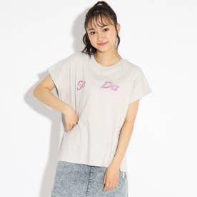 ★ニコラ掲載★レインボー刺繍バックレースアップTシャツ (ライトグレー)