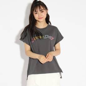 ★ニコラ掲載★レインボー刺繍バックレースアップTシャツ (チャコールグレー)