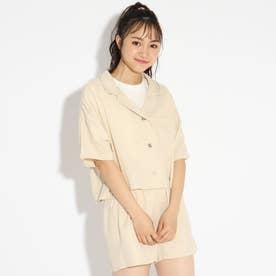 ★ニコラ掲載★麻風開襟シャツ+Tシャツセット (ライトベージュ)