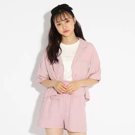★ニコラ掲載★麻風開襟シャツ+Tシャツセット (ライトパープル)
