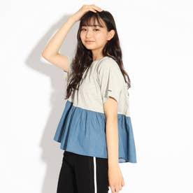 【コットン100%】ティアードTシャツ (グレー)