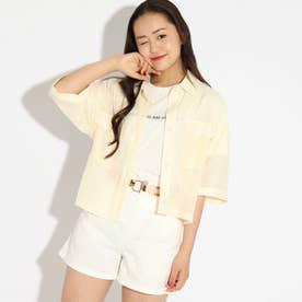 クロップドシャツ+ロゴTシャツセット (レモンイエロー)