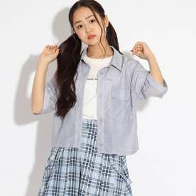 クロップドシャツ+ロゴTシャツセット (ライトブルー)