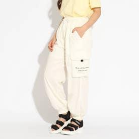 【接触冷感】裾シャーリングカーゴパンツ (オフホワイト)