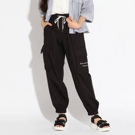 【接触冷感】裾シャーリングカーゴパンツ (ブラック)