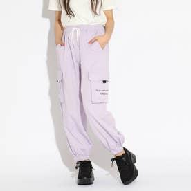 【接触冷感】裾シャーリングカーゴパンツ (ライトパープル)