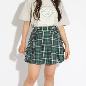【ニコラ掲載商品】サス付プリーツスカート (ダークグリーン)