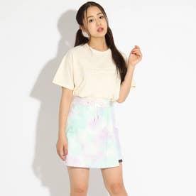 刺しゅうTシャツ+タイダイスカパンセット (アイボリー)