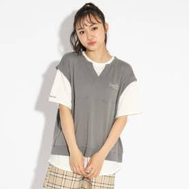 べストレイヤード風ドッキングTシャツ (チャコールグレー)