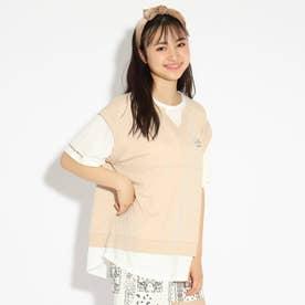 べストレイヤード風ドッキングTシャツ (ライトベージュ)