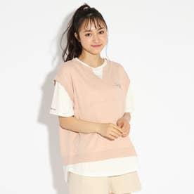 べストレイヤード風ドッキングTシャツ (ベビーピンク)