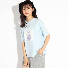 ガールグラフィックプリントTシャツ (サックス)