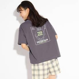 ガールグラフィックプリントTシャツ (チャコールグレー)