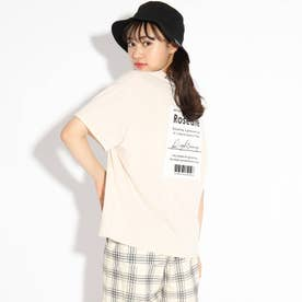 【接触冷感】バックBOXロゴTシャツ (ライトベージュ)