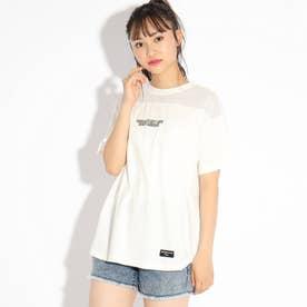 【コットン100%】シンプル透けグラフィックTシャツ (オフホワイト)