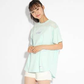【コットン100%】シンプル透けグラフィックTシャツ (ライトグリーン)