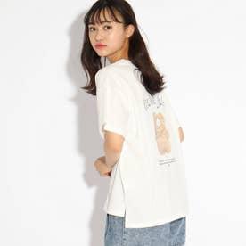 【コットン100%】くま転写Tシャツ (オフホワイト)