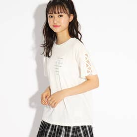 編み上げシンプルTシャツ (オフホワイト)