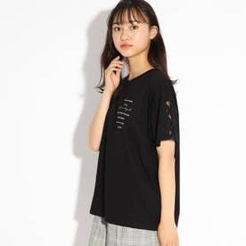 編み上げシンプルTシャツ (ブラック)