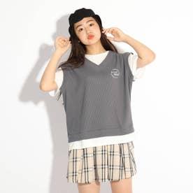 ワッフルベストレイヤード風Tシャツ (チャコールグレー)