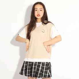 ワッフルベストレイヤード風Tシャツ (ライトベージュ)