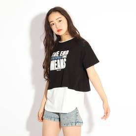 ラウンドヘムレイヤードTシャツ (ブラック)