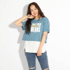 ラウンドヘムレイヤードTシャツ (ライトブルー)