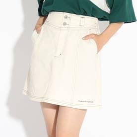 【ニコラ掲載商品】ステッチ入りスカート (アイボリー)