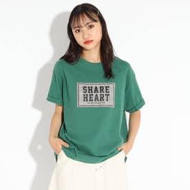 ロゴアップリケTシャツ (ダークグリーン)