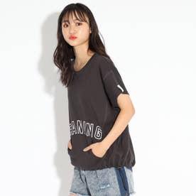 ゆるシルエットドロストTシャツ (チャコールグレー)
