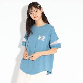 ラウンドヘム袖スラッシュ透けTシャツ (ライトブルー)