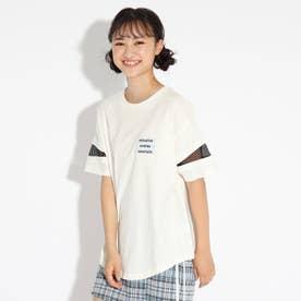 ラウンドヘム袖スラッシュ透けTシャツ (オフホワイト)