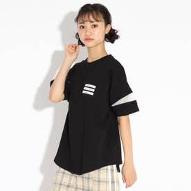 ラウンドヘム袖スラッシュ透けTシャツ (ブラック)