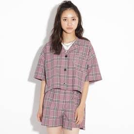 【ニコラ掲載商品】総柄開襟シャツ (ピンク)
