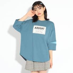 【WEB限定カラーあり】ボックスロゴ貼り7分袖トップス (ライトブルー)