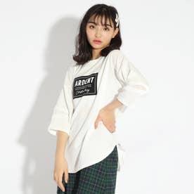 【WEB限定カラーあり】ボックスロゴ貼り7分袖トップス (オフホワイト)