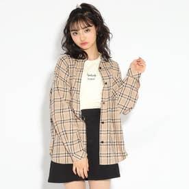 【WEB限定サイズ140㎝あり】BIGチェックシャツ (ライトベージュ)