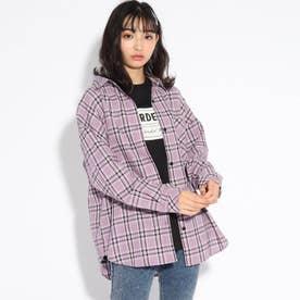 【WEB限定サイズ140㎝あり】BIGチェックシャツ (ライトパープル)