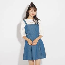 ジャンスカ+5分袖TシャツSET (ブルー)