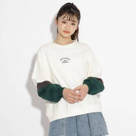 【コットン100%】袖配色裏毛トップス (オフホワイト)