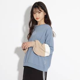 【コットン100%】袖配色裏毛トップス (ライトブルー)