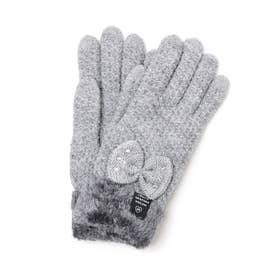ストーン付きリボン手袋 (グレー)