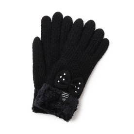 ストーン付きリボン手袋 (ブラック)