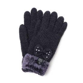ストーン付きリボン手袋 (ネイビー)