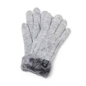 ケーブル編み裏モール手袋 (グレー)