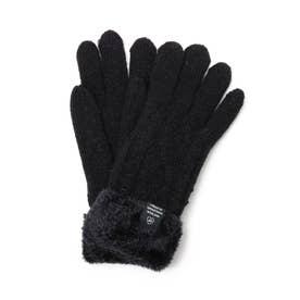 ケーブル編み裏モール手袋 (ブラック)