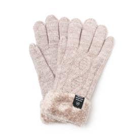 ケーブル編み裏モール手袋 (ダークブラウン)