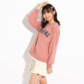 裾レイヤードロゴトップス (ピンク)